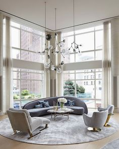 I love the curvy sofa with the round rug! South Shore Decorating Blog: 50 Favorites for Friday #137