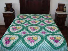 GORGEOUS TEAL w/ FLORAL DESIGN VINTAGE CHENILLE BEDSPREAD - DOUBLE BED - MINT!