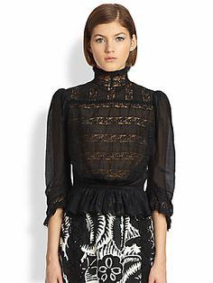 Marc Jacobs Cotton Voile Victorian Blouse
