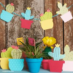 Use our templates to create your own adorable and easy paper cactus garland, which you can use as event decor for a Cinco de Mayo party or birthday fiesta!
