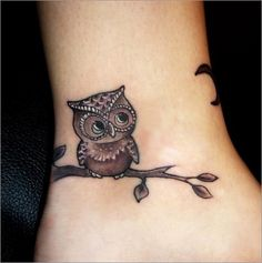 Lil' owl tattoo #tattoo #tattoos #ink it's on the ankle but I just had to repin I'm OBSESSED with owls! O_O