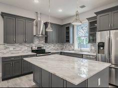 Dark Grey Kitchen Cabinets, Cheap Kitchen Cabinets, Kitchen Cabinet Styles, Kitchen Redo, Home Decor Kitchen, Kitchen Interior, Home Kitchens, Farmhouse Cabinets, Kitchen Ideas