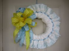 Yellow & Blue Polka Dot Baby Boy Diaper Wreath by TowerDoorDecor, $35.00
