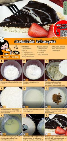 Chocolate-Coconut Pie recipe with video. Detailed steps on how to prepare this easy and simple Chocolate-Coconut Pie recipe! Coconut Chocolate Pie Recipe, Dark Chocolate Recipes, Chocolate Cake, Dessert Drinks, Fun Desserts, Dessert Recipes, Jaffa Cake, Salty Foods, Hungarian Recipes