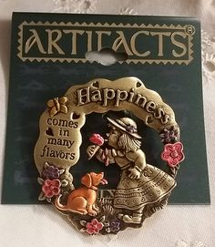 Vintage JJ Artifacts 'Happiness Comes In Many Flavors' Pin Gold tone Enamel Pin Brooch New on Card 1986 Girl Ice Cream Dog on Etsy