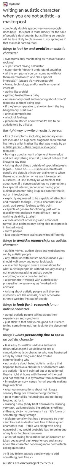 some autistic character stuff, just in case