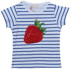 Simple Kids - striped t-shirt strawberry - Delicious! Blue and white striped t-shirt with print of a strawberry decorated with red sequins. 100% cotton.