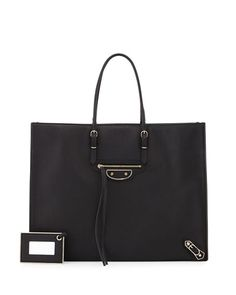 BALENCIAGA Papier A4 Tote Bag, Black. #balenciaga #bags #shoulder bags #hand bags #leather #tote #lining