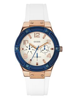 White, Blue and Rose Gold-Tone Standout Sparkle Watch at Guess