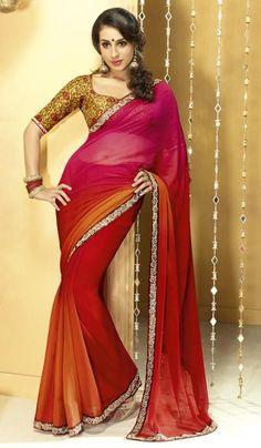 5d5d6333b Shaded Maroon Orange Chiffon Embroidered Wedding Saree Product Code   G3-LS8396  Price   INR
