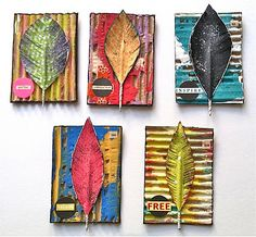 April Coles Studio - One artist. One Story. One brush stroke at a time.: Altered Corrugated Cardboard- ATCs