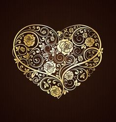 Golden heart with floral decor vector material # Heart … – Flowers Desing Ideas