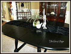 spray painted dining room table. Want to redo my dining room table, but in a funky fun color.