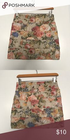 Floral Mini Skirt 🌸🌺 This is a lace mini with flowers 🌺 all around multi colored has liner in the inside in a size Large Love Culture Skirts Mini