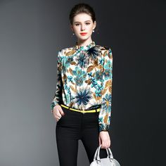 e50b002b6f8727 New 2017 European Clothing Blouses Women Luxury Print Long Sleeve Elegant Tops  Silk Blouses Ladies Shirt Blusas Workwear Femin