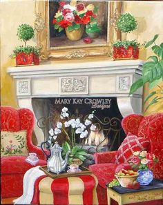Fireside Chat Handpainted Needlepoint Canvas by Mary Kay for DJ Designs. Design area is x mesh canvas. Illustrations, Illustration Art, Cottage Art, Red Cottage, French Country Decorating, Country French, Country Charm, Fireside Chats, Country Artists