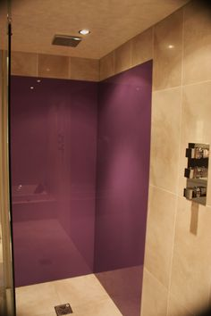 Bathroom splashback fitted in bathroom, variety of colours available! Bathroom splashback fitted in bathroom, variety of colours available! Bathroom splashback fitted in bathroom, variety of colours available! Shower Splashback, Back Painted Glass, Downstairs Toilet, Glass Shower, Aqua, New Homes, Bathtub, Colours