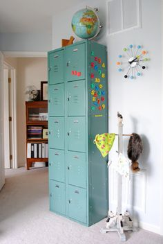 old school lockers would be perfect in playroom or laundry room to store stuff out of the way- and BONUS!- can be locked to keep kiddos from dragging the stuff back out