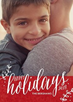 Send loved ones a 'Cozy Feeling' with a Folded Holiday Photo Card by Jill Smith in Siren Red