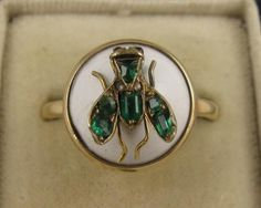 Unique Antique 1800s Victorian 9K Emerald, Diamond, Ruby Fly Ring