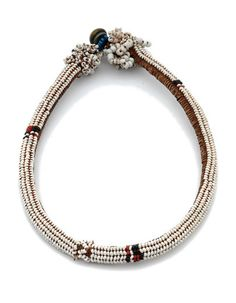 Africa | Necklace from the Masitise region of Lesotho | 20th century | Glass beads and fiber