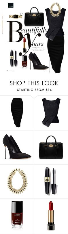 """""""Black"""" by lovepeacehopefaith ❤ liked on Polyvore featuring Sonam Life, Roland Mouret, Casadei, Mulberry, Max Factor, Chanel and Lancôme"""