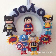 Guirlanda Porta de Maternidade tema Super Heróis para o João