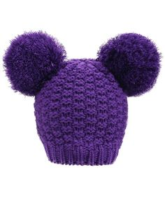 512556442a9 Women s Winter Cable Knit Pompom Ski Snowboard Beanie Hat Double  Poms purple C612NA4VF3D