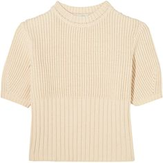Totême Serreval ribbed cotton-blend sweater found on Polyvore featuring tops, sweaters, crop top, ivory, cropped sweater, cream crop top, pink crop top, cream sweater and cream top
