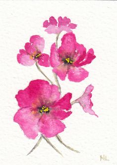 ACEO Miniature Card Original Watercolour - Meadow Pink Flowers England