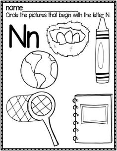 Letter N Beginning Sound Color Pictures Worksheet