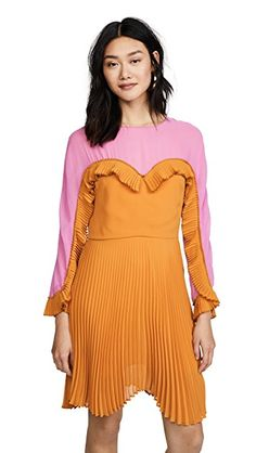 Designer Clothes, Shoes & Bags for Women Colorblock Dress, Ruffle Dress, Dress Cuts, Orange Dress, Streetwear Brands, Luxury Fashion, Street Wear, Chiffon, Summer Dresses