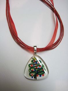 Pendant with Christmas Tree watercolor by watercolorsNmore on Etsy, $13.00
