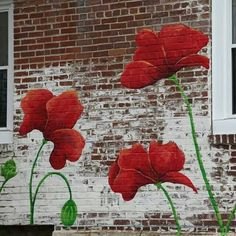 Mural...poppies Flower Mural, Painted Fences, Fence Art, Fence Painting, Garden Mural, Garden Fencing, Lawn And Garden, Outdoor Walls, Wall Murals