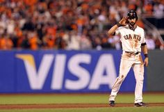 SAN FRANCISCO, CA - OCTOBER 25:  Angel Pagan #16 of the San Francisco Giants reacts after he stole second base in the eighth inning against the Detroit Tigers during Game Two of the Major League Baseball World Series at AT Park on October 25, 2012 in San Francisco, California.