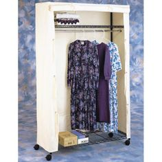 The Mobile Armoire will protect your clothing from dust, insects and sunlight. The durable canvas cover can be tied along the sides, and the front flap. Bedroom Wardrobe, Wardrobe Rack, Clothing Armoire, Rolling Rack, Garment Racks, Closet System, Coat Hanger, Closet Storage, Wardrobes