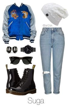 Hanging out with Suga  by ari2sk on Polyvore featuring polyvore, fashion, style, Topshop, Dr. Martens, The Horse, Ray-Ban, West Coast Jewelry and clothing