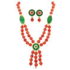 VAN CLEEF & ARPELS Magnificent Coral Jade Necklace and Earrings thumbnail 1