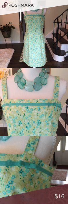 """Ann Taylor Lift green and yellow dress size 8 Beautiful green and yellow lined dress size 8, 100% cotton, lining 100% acetate. Armpit to armpit measures 17"""", gorgeous dress for Easter!! Slight mark on inside of dress on lining, only you will know it's there , can't see it, see pics! Ann Taylor Dresses"""