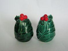 Vintage Lefton Christmas Salt & Pepper Shakers - Holly Berries Egg Shape Red Green Porcelain Ceramic by BrilbunnySelections on Etsy https://www.etsy.com/listing/263598369/vintage-lefton-christmas-salt-pepper