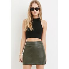 Forever 21 Forever 21 Women's  Faux Leather Mini Skirt ($20) ❤ liked on Polyvore featuring skirts, mini skirts, short mini skirts, black faux leather skirt, full length skirt, imitation leather skirt and forever 21