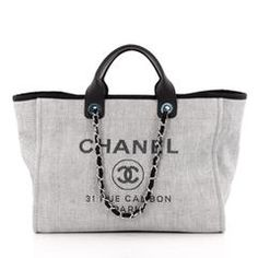 Chanel Deauville Chain Tote Canvas Large