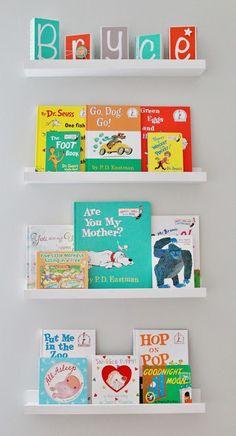 Delightfully Noted: Finally! Our Baby Boy's Aqua, Orange, & Grey Nursery Reveal, book wall
