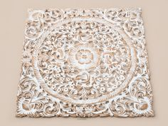 Attractive Asian Wood Carving Wall Art Panel. Wall Hanging. Lotus Wood Carved Plaque  Decor.