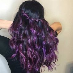 21 Bold and Trendy Dark Purple Hair Color Ideas Long Curly Purple Hair Color Idea - Station Of Colored Hairs Curly Purple Hair, Brown Ombre Hair, Colored Curly Hair, Lilac Hair, Long Curly Hair, Curly Hair Styles, Curly Girl, Violet Hair, Girl Hair