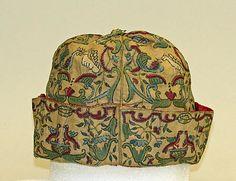 Cap Date:     17th century–18th century Culture:     European Medium:     linen, silk Dimensions:     Height: 6 7/8 in. (17.5 cm) Width: 10 1/2 in. (26.7 cm) Credit Line:     Rogers Fund, 1926