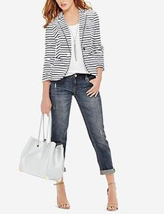 The Limited - Striped Knit Blazer Striped Blazer Outfit, Blazer Outfits Casual, Knit Blazer, Casual Wear, Jackets For Women, Clothes For Women, Work Clothes, Stitch Fix Outfits, Spring Outfits
