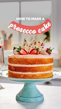 Fun Baking Recipes, Sweet Recipes, Dessert Recipes, Desserts, Prosecco Cake, Cake Receipe, Cake Decorating Videos, Homemade Cakes, Celebration Cakes