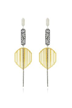 Light, bright, pattern-filled allure. These delicate earrings may be light to wear but in terms of pattern they are hard-punching heavyweights. Oxidized silver rectangular links contrast with brightly-polished sterling silver geometric studs and bright gold striped shields for full visual effect. Dangling oxidized silver trace chains add movement and length. Sterling silver butterfly fastening.    8cm drop, 2cm width   Bambara Drop Earrings by Comfort Station . Accessories - Jewelry…