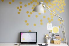 Or add some gold confetti to the wall for a festive touch. | 54 Ways To Make Your Cubicle Suck Less